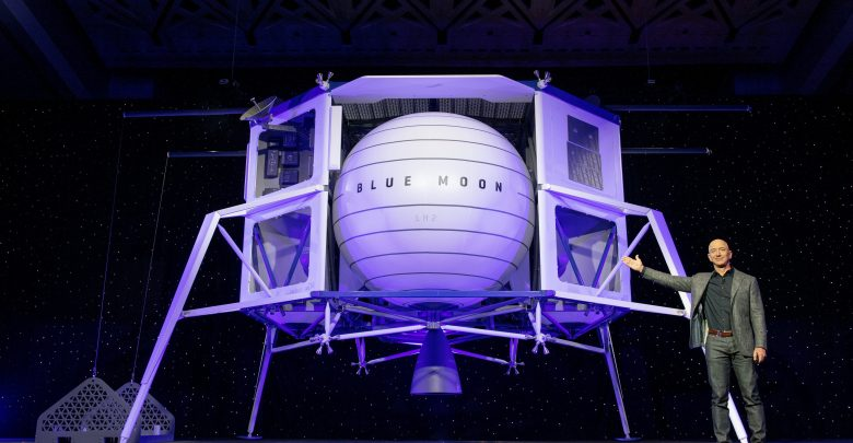 Blue Origin could transport astronauts to the moon by 2024. Image Credit: Twitter / Blue Origin.