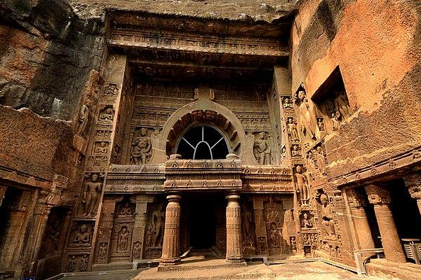 Cave 19, Ajanta, a 5th-century chaitya hall. Image Credit: Wikimedia Commons. CC BY-SA 3.0.