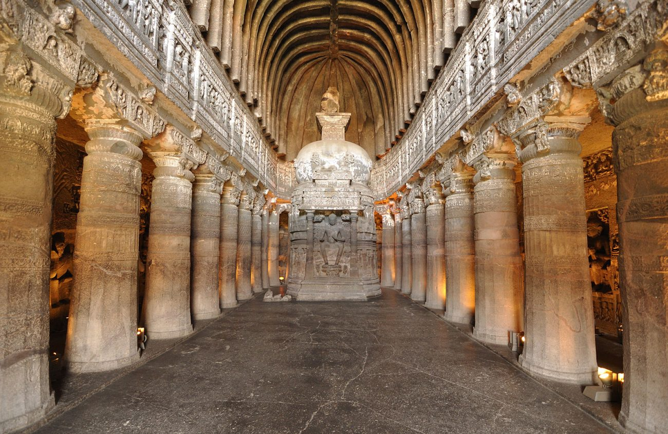 """View of Cave 26, which is a Buddhist """"Chaitya Griha"""" or prayer hall. Image Credit: Wikimedia Commons."""