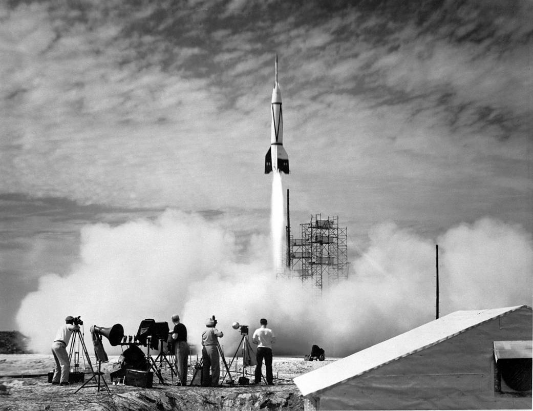 The first rocket launch. Image credit: NASA