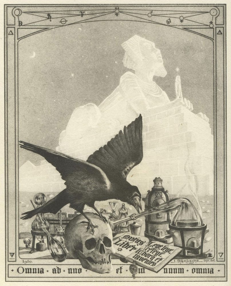 Frontispice of Le Mystère des Cathédrales by Fulcanelli (1926). Illustration by Julien Champagne. Image Credit: Wikimedia Commons.