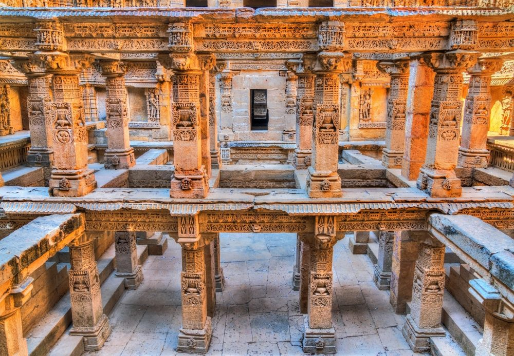 The interior of the Rani ki Vav stepwell in a fascinating image. Shutterstock.