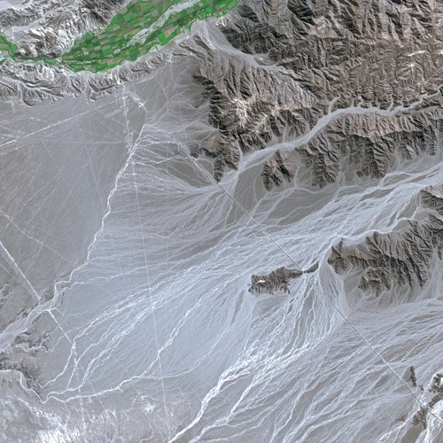 Nazca Lines seen from SPOT Satellite. Image Credit: Wikimedia Commons. CC BY-SA 3.0.
