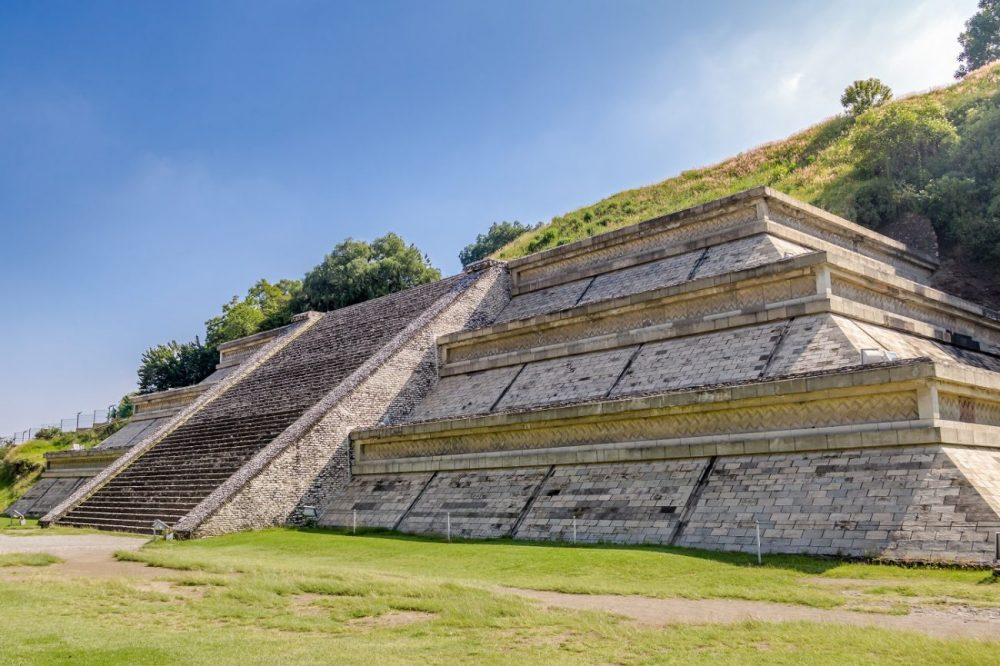 An image showing a small area of the Great Pyramid of Cholula. Shutterstock.