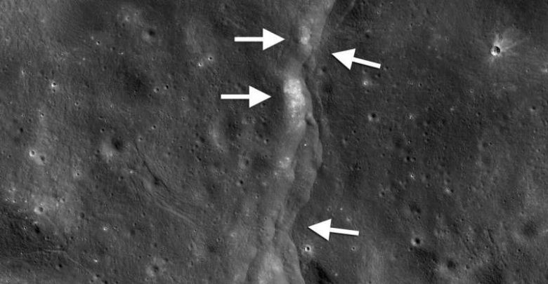 This prominent thrust fault is one of thousands discovered on the moon by NASA's Lunar Reconnaissance Orbiter (LRO). Image Credit: Credit: LROC NAC frame M190844037LR; NASA/GSFC/Arizona State University/Smithsonian.