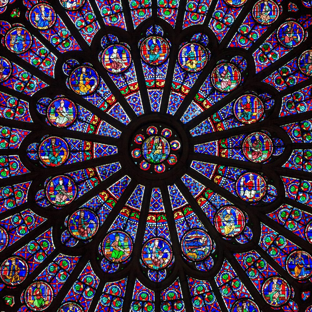 The North Rose window at Notre Dame cathedral dates from 1250 and is also 12.9 meters in diameter. Its main theme is the Old Testament. Shutterstock.