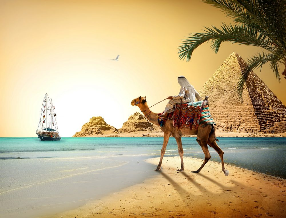 Artists rendering of the Pyramids, a camel and a boat. Shutterstock.
