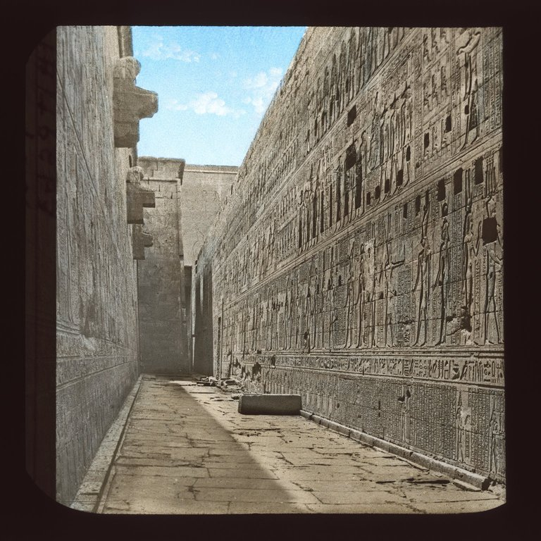 A stunning vintage view of the markings at the walls of the temple. Image Credit: mage Credit: Brooklyn Museum / Public Domain.