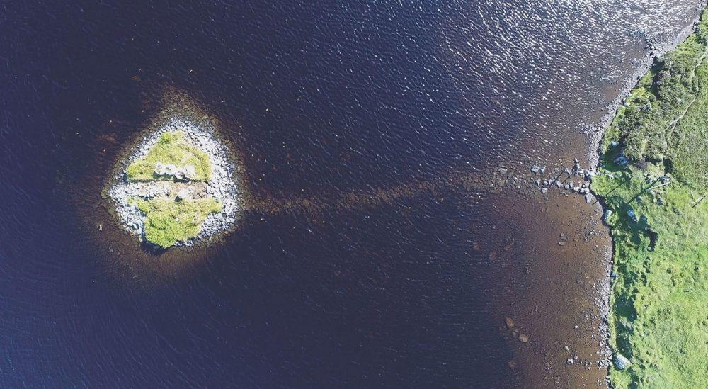 Aerial view of a 'crannog'. Image Credit: Antiquity, F. Sturt; Duncan Garrow and Fraser Sturt.