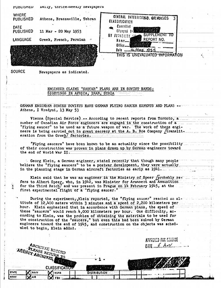 A declassified document by the CIA about UFOs. Image Credit: CIA.