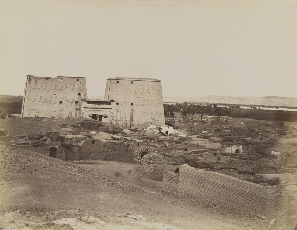 Edfou Pylone et Village, 19th century. Image Credit: Brooklyn Museum / Public Domain.