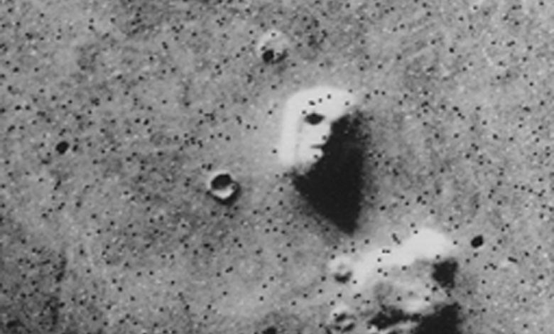 The famous face of Mars. Image taken by the Viking 1 orbiter on July 25, 1976.