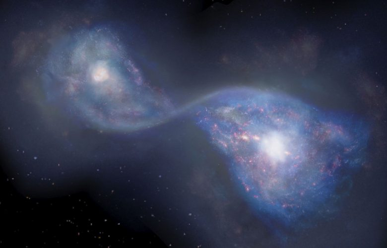 Seen here is an artists rendering of the merging galaxies B14-65666 located 13 billion light-years away. Image Credit: NAOJ.