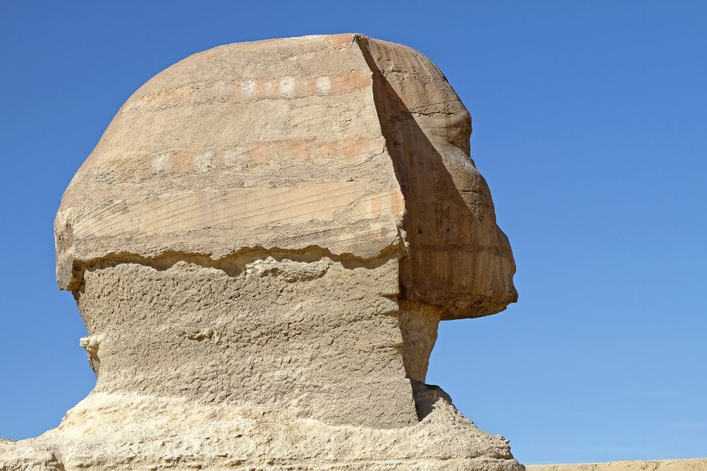 Image of the side of the head of the Sphinx. Shutterstock.