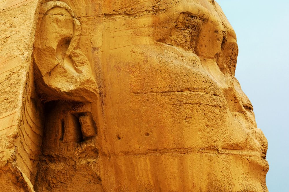 A close-up image of the head of the Sphinx. Shutterstock.