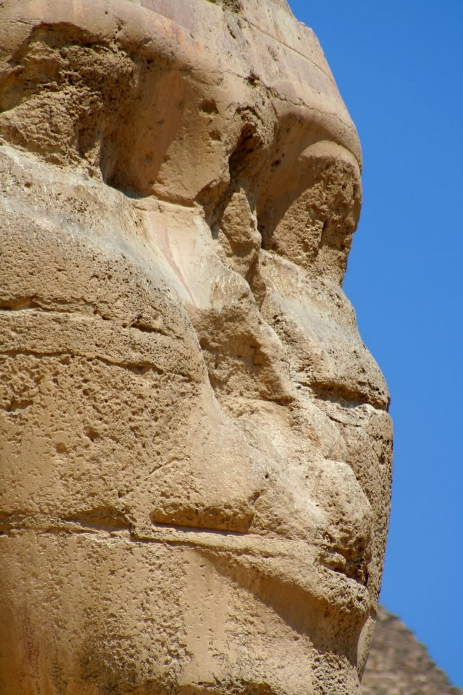 A close-up image of the head of the Great Sphinx. Shutterstock.