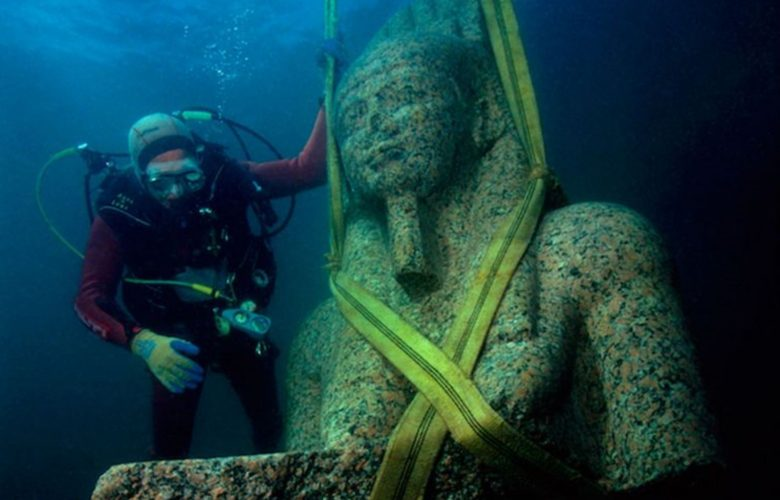 One of the many statues discovered at the sunken city. Image Credit: Christoph Gerigk / Franck Goddio / Hilti Foundation.