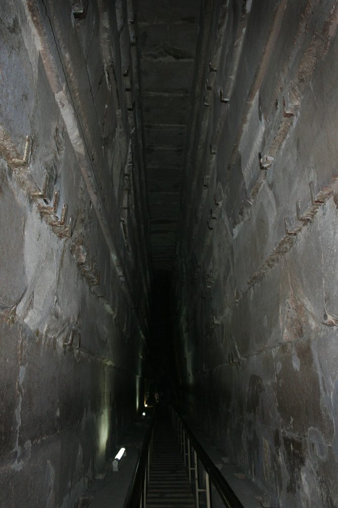 Narrow tunnel inside the Great Pyramid of Giza.