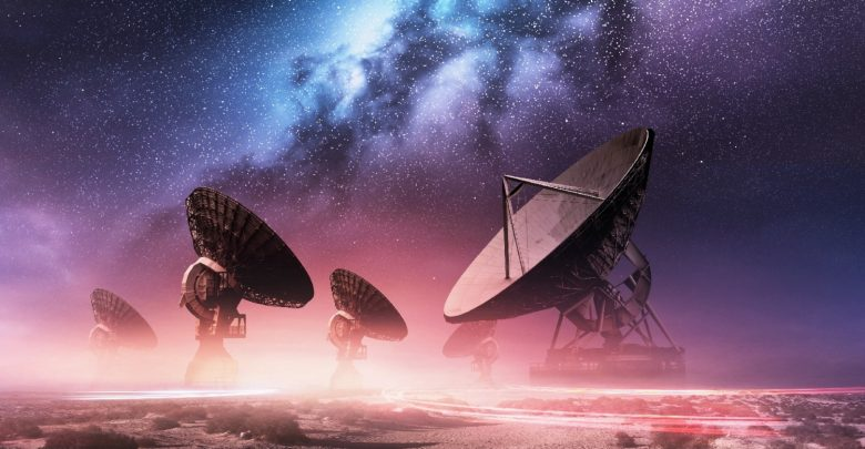 Radio-telescopes searching for aliens. Shutterstock.