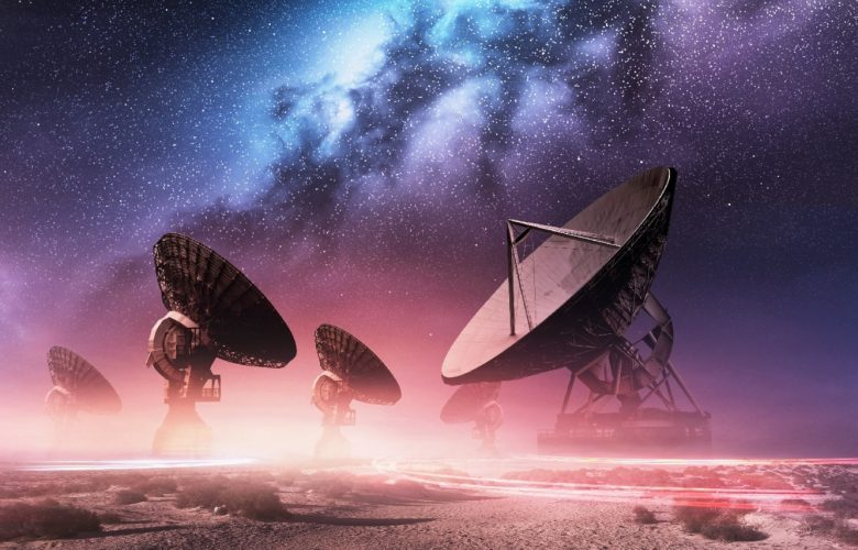 Radio-telescopes searching for aliens. Shutterstock.