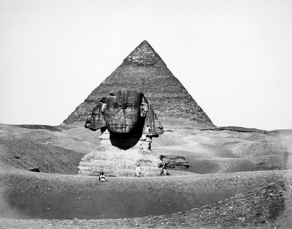 The Great Pyramid of Cheops and the Sphinx photograph by Antoine Beato circa 1880. Shutterstock.