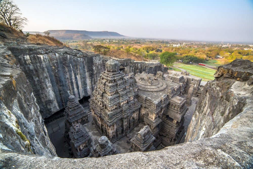Top view of the rock carved temple of Kailasa.