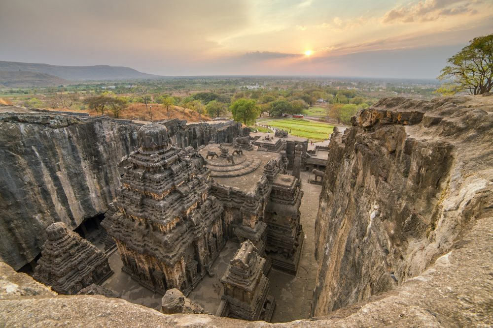 The rock carved temple of Kailasa.
