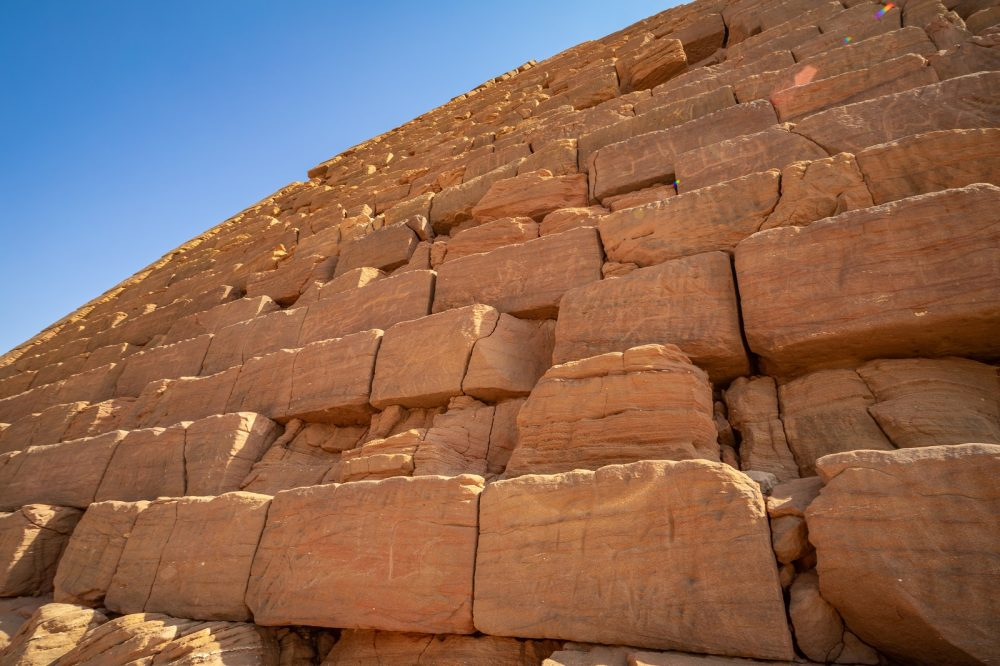 A close-up image of one of the pyramids of Kamira, Sudan. Shutterstock.