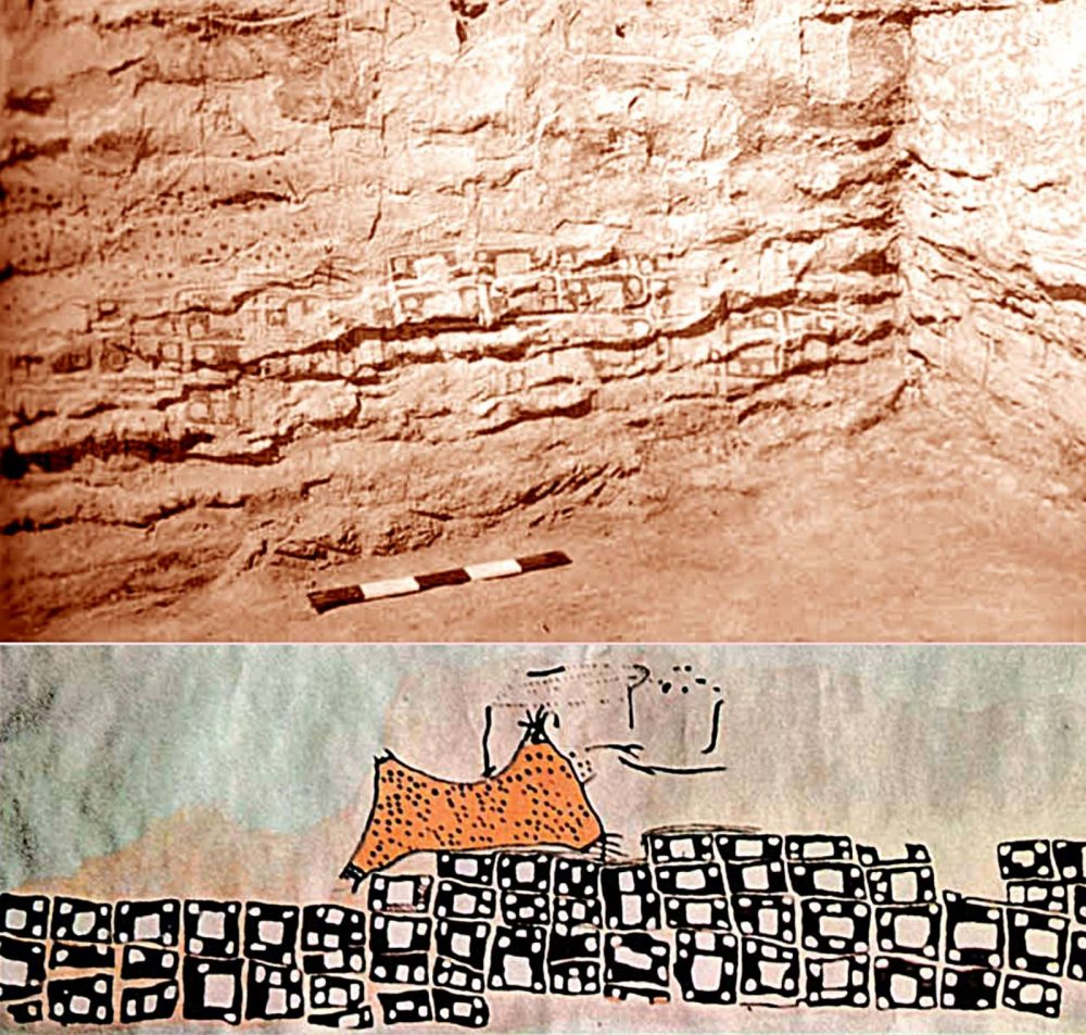 The Neolithic mural in Çatalhöyük, Turkey. Image Credit: Ataman Hotel / John Swogger.