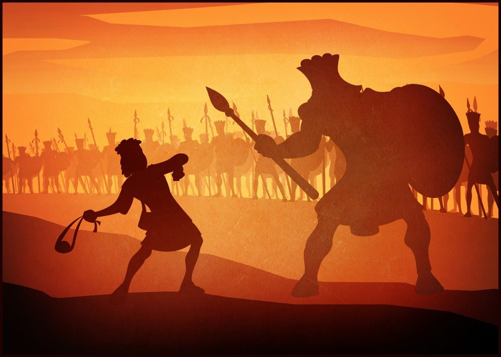 Artists rendering of David and Goliath in battle. Shutterstock.