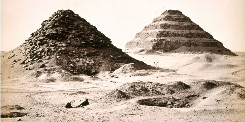 1858 photography of the north side. In the background, the Pyramid of Djoser. Public Domain.