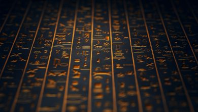 Golden Ancient Egyptian Hieroglyphs. Shutterstock.