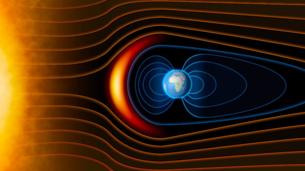 Artists rendering of how Earth's magnetic field works. Shutterstock.