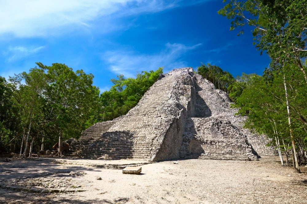The Mayan Nohoch Mul pyramid in Coba, Mexico. Shutterstock.