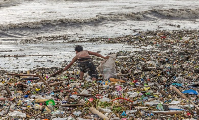 Plastic pollution on the beach. Shutterstock.