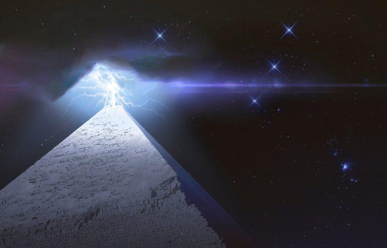 Pyramid and lightning. Shutterstock.