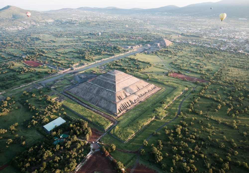 Aerial view of the Pyramid complex at Teotihuacan. Shutterstock.
