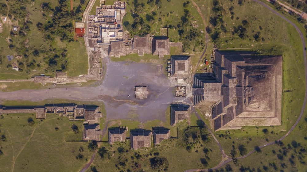 An aerial view of a section of the ancient city of Teotihuacan. Shutterstock.