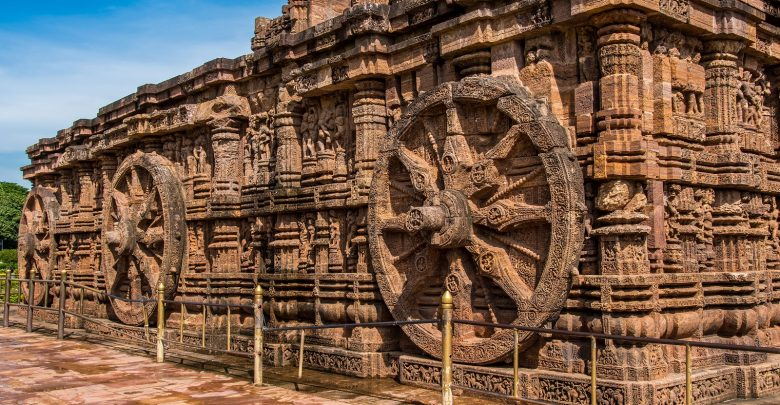 The temple is designed as a chariot consisting of 24 such wheels. Shutterstock.
