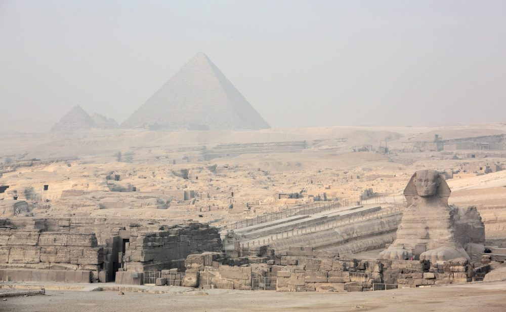 The Sphinx, the Giza plateau and the pyramids. Shutterstock.