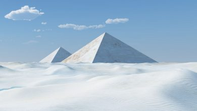 An artists illustration of white pyramids. Shutterstock.