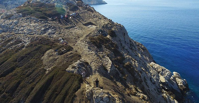 A complex set of 60 marble buildings uncovered on a pyramid-shaped islet in Greece. Ministry of Culture/British School at Athens.