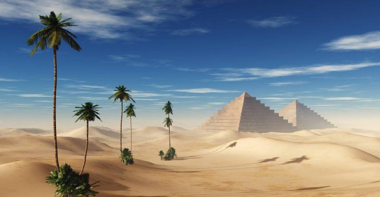 An artists rendering of pyramids in the desert. Shutterstock.