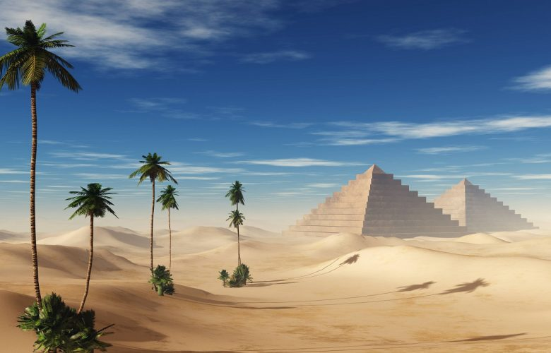 An artists rendering of pyramids in the desert. Shutterstock.