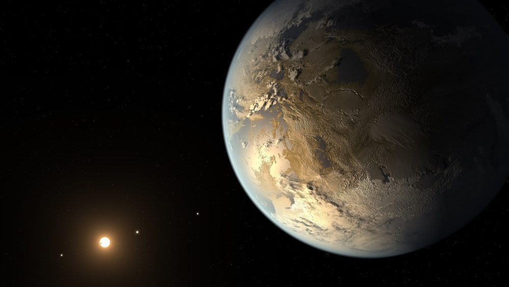 Artist's concept of the potentially habitable exoplanet, Kepler-186f. Image Credit: NASA Ames/SETI Institute/JPL-Caltech.