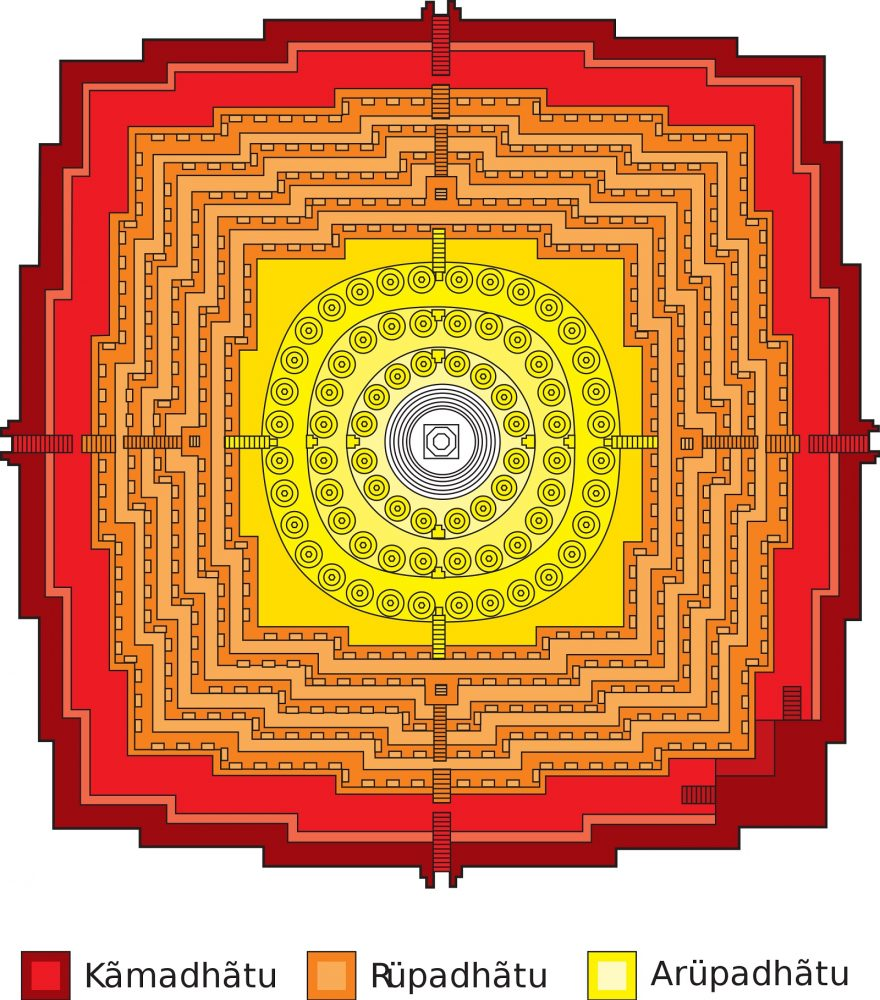 Borobudur ground plan taking the form of a Mandala. Image Credit: Wikimedia Commons / CC BY-SA 3.0.