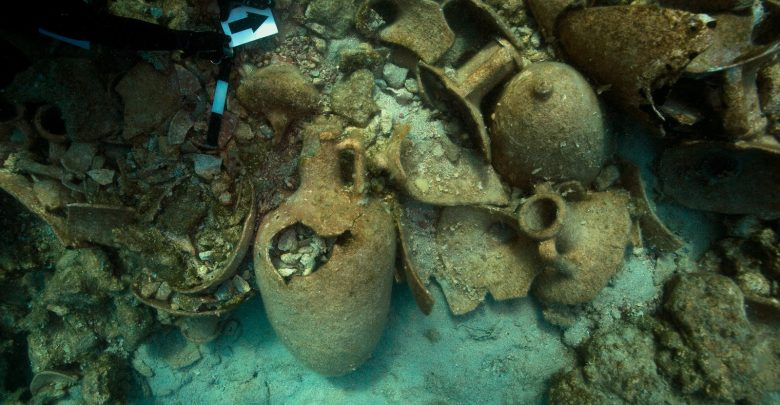 Ancient amphora near the island of Levitha. Image Credit: Hellenic Ministry of Culture and Sports.