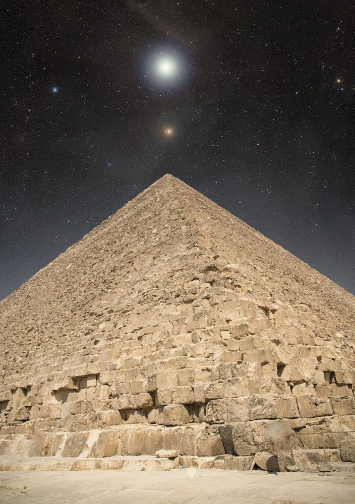 An image of the pyramid and the night sky. Shutterstock.