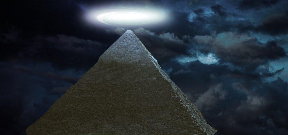 Strange light above pyramid. Shutterstock.