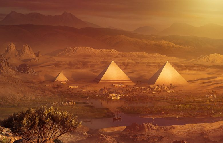 Artists rendering of ancient Pyramids. Shutterstock.